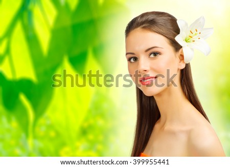 Young healthy girl on floral background