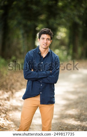 Young healthy man in rural scene