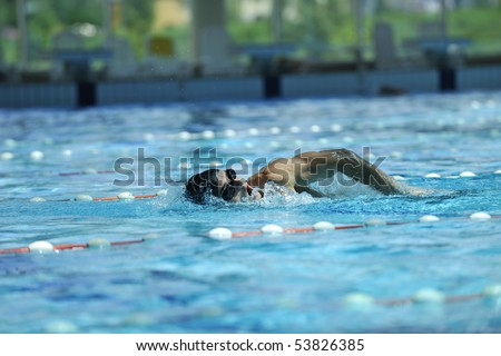 young healthy man with muscular body in swimming pool and representing healthy and recreation concept - stock photo
