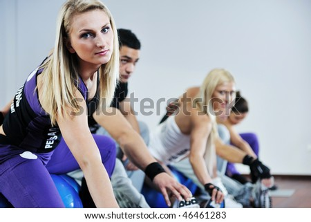 young healthy people group exercise fitness and get fit - stock photo
