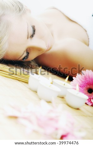 young healthy woman in wellness and spa studio have Massage - stock photo