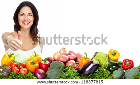 Young healthy woman with fruits and vegetables. Diet. - stock photo