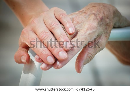 Young help Old - stock photo