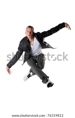 Young hip hop dancer jumping isolated over white background