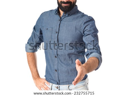 Young hipster man making a deal - stock photo