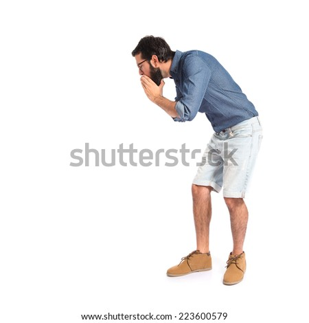 Young hipster man shouting over white background   - stock photo