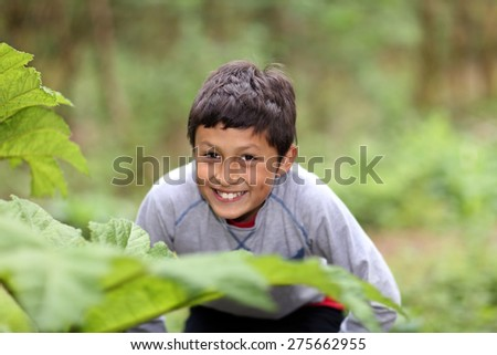 Young Hispanic boy playing in the woods - shallow depth of field - stock photo