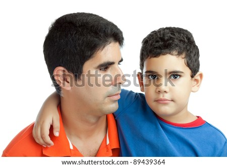 Young hispanic father and his son  isolated on a white background - stock photo