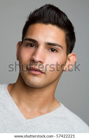 Young hispanic man closeup headshot - stock photo
