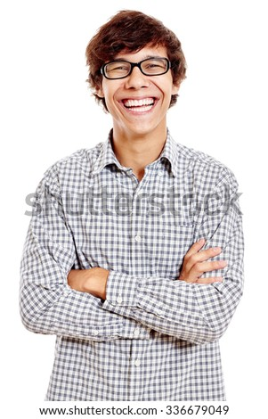 Young hispanic man wearing blue checkered shirt and black glasses standing with crossed arms and laughing isolated on white background - stock photo