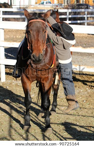 Young horse rider climbing of his horse - stock photo
