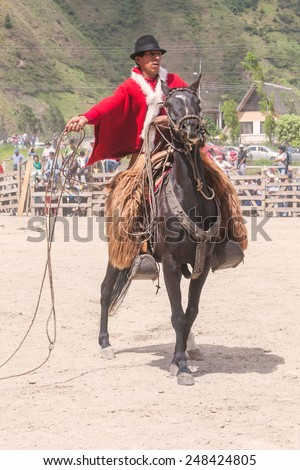 Young Horseman At A Local Competition, South America  - stock photo