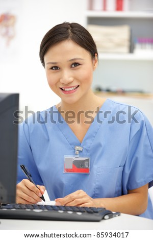 Young hospital doctor at desk