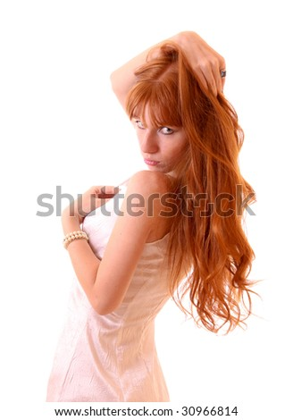 Young hot woman in white dress isolated - stock photo