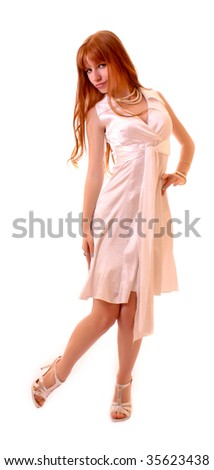 Young hot woman in white dress isolated