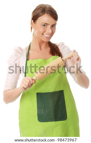 Young house wife in kitchen, isolated on white background