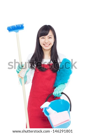 young housewife cleaning isolated on white background  - stock photo