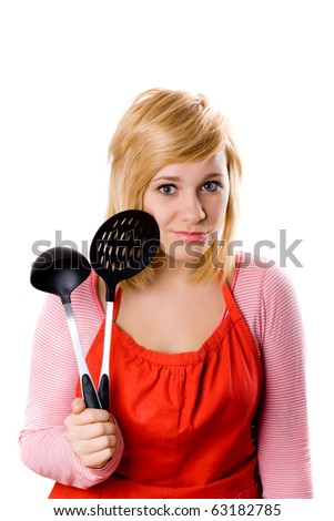 young housewife with kitchen utensil isolated on white background - stock photo