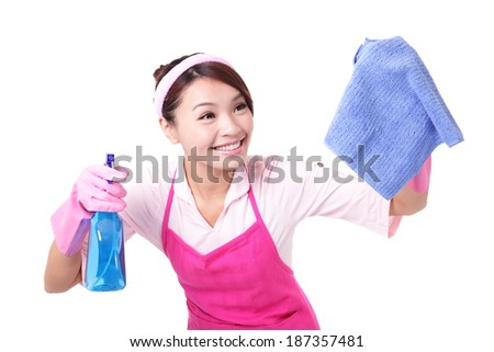young housewife woman mother cleaning on white background, asian - stock photo
