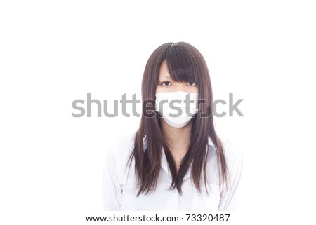 young ill girl with mask - stock photo