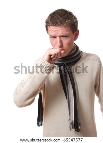 young ill man with scarf coughing isolated over white background - stock photo