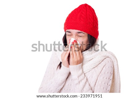 Young ill unhappy woman girl sneezing coughing blowing with handkerchief - stock photo
