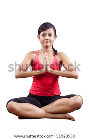 Young in yoga stretching exercise, isolated