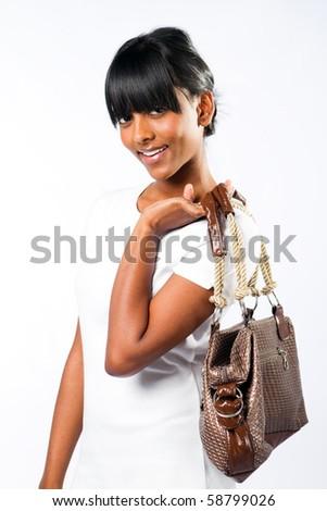 young indian fashion woman - stock photo