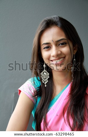 Young Indian girl in traditional clothing. - stock photo