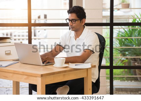 Young Indian Man Working Home Office Stock Photo 433391647