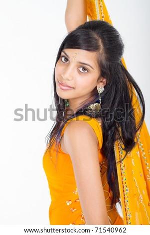 young Indian woman in sari - stock photo