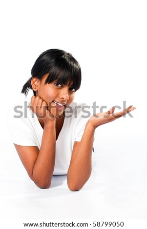 young indian woman on white - stock photo