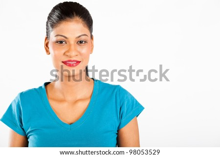 young indian woman portrait isolated on white background - stock photo