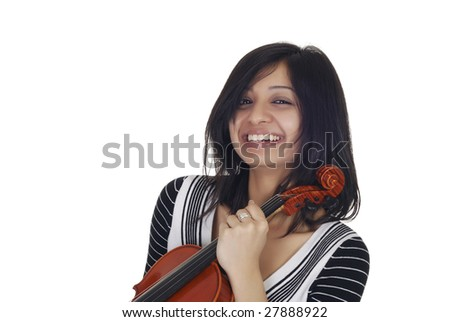 Young Indian woman with violin in her hands isolated over white - stock photo