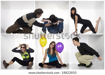 Young individual people in white boxes with various expressions and situations. Different people concept - stock photo
