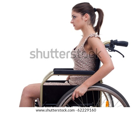 young invalid woman on the wheelchair, isolated