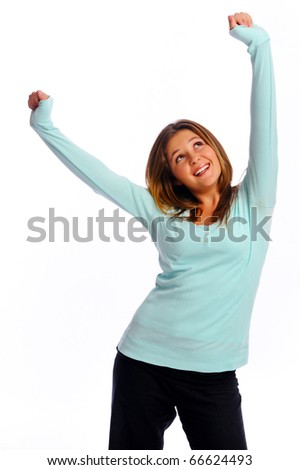 Young isolated model stretches her arms up in the air - stock photo