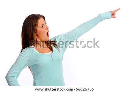Young isolated teenager points out of the frame - stock photo