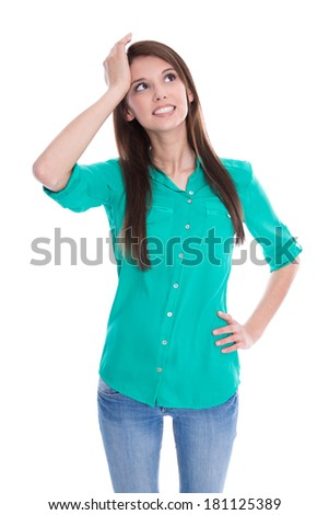 Young isolated woman has lost her memory. - stock photo