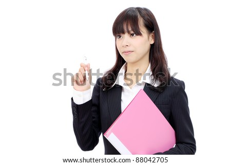 Young japanese business woman holding a file document and pen - stock photo