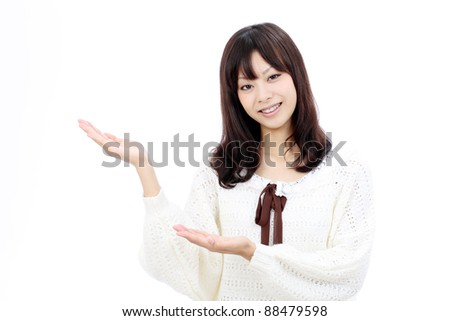 Young japanese woman hand showing blank sign