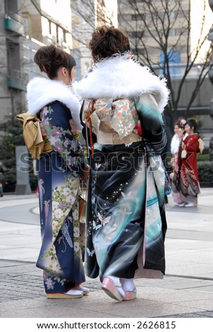 young Japanese women in kimono - stock photo