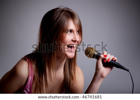 young karaoke girls - stock photo
