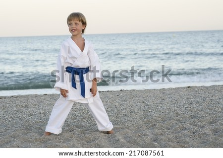 Young karate boy  - stock photo