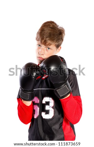 young kickboxer on white background - stock photo