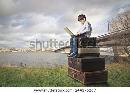 Young kid learning  - stock photo