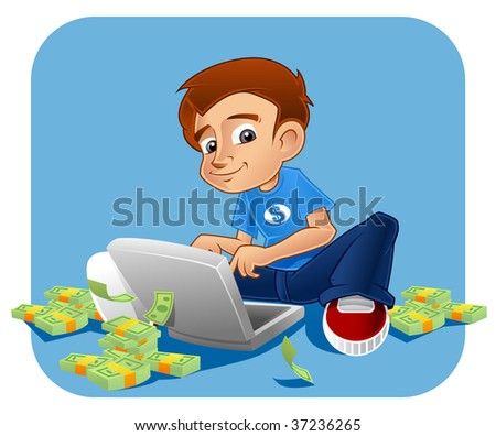 Young kid operating his laptop doing internet business, pile of money around depict a successful internet business person. - stock photo