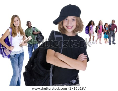 Young kids are ready for school. Education, family, learning - stock photo