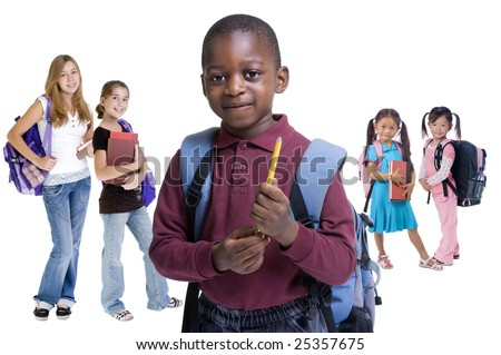 Young kids are ready for school. Education, family, learning, diversity - stock photo