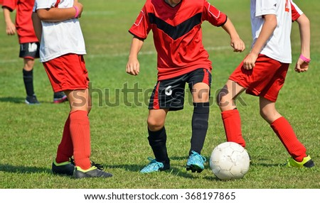 Young kids in action at the soccer match - stock photo